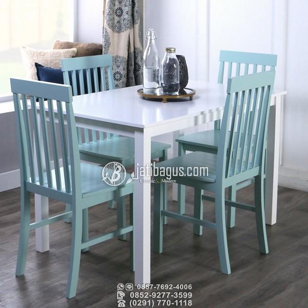 Set Meja Makan Minimalis Kursi Biru Meja Duco Putih Mahoni