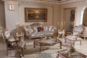Set Kursi Tamu Sofa Ukir Warna Emas