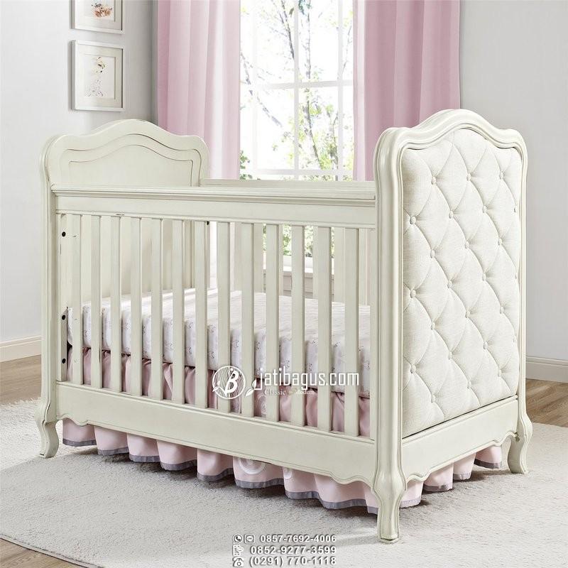 Tempat Tidur Bayi Minimalis Duco Putih Jok Busa Mewah Ratu