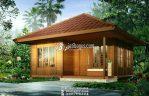Rumah Kayu Minimalis Sepasang Pintu Kaca Besar Mewah Modern Kekinian
