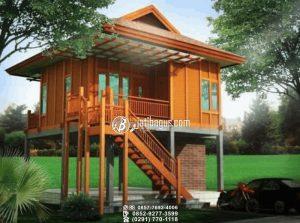 Rumah Kayu Minimalis Tingkat Simpel Ramping