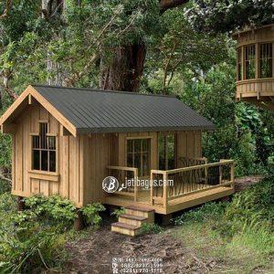 Rumah Kayu Minimalis Tinggi Pertengahan Anti Banjir