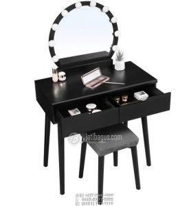 Meja Rias Minimalis Hitam Retro Cermin Full Lampu Make Up Wedding