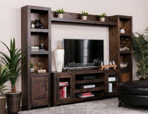 Set Lemari Meja Tv Rak Gantung Atas Tempat Pot Bunga Kayu Solid