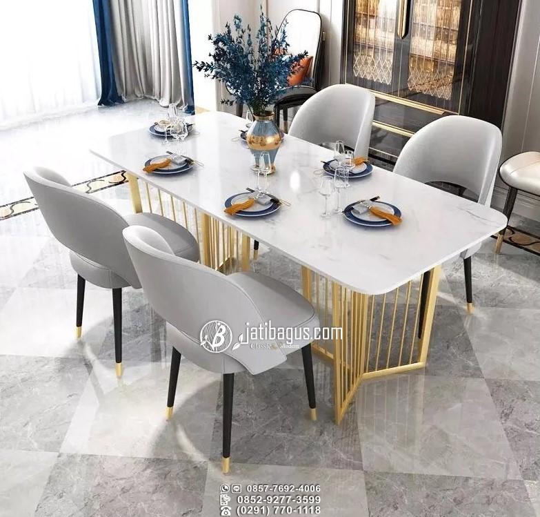 Set Meja Makan Mewah Kaki Stainless Emas Top Marble Putih