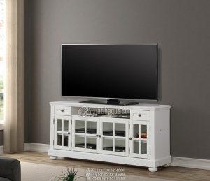 Set Meja Tv Besar Kayu Mahoni Duco Putih Pintu Kaca Kaki Bubutan