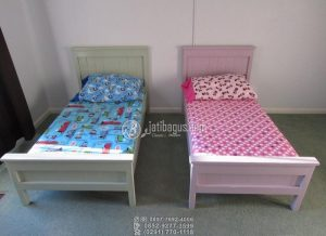 Tempat Tidur Anak Minimalis Laki Perempuan Twin Custom Desain Warna