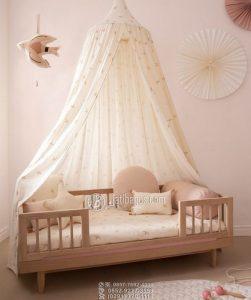 Tempat Tidur Anak Minimalis Natural Kayu Solid Jati Cerah Kaki Bubutan